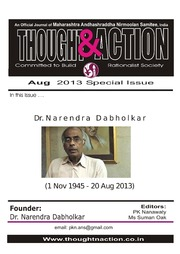 texts         DR. NARENDRA DABHOLKAR SPECIAL ISSUE OF THOUGHT AND ACTION                                    by     PRABHAKAR NANAVATI