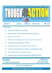 texts         THOUGHT AND ACTION - RATIONALIST MAGAZINE - 2013 ALL                                    by     PRABHAKAR NANAVATI