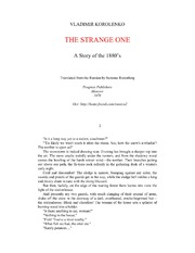 texts         The Strange One A Story Of The 1880's                                    by     Vladimir Korolenko